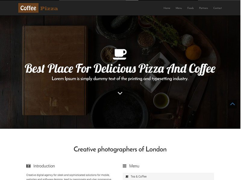 Coffee Pizza One page Restaurant Template