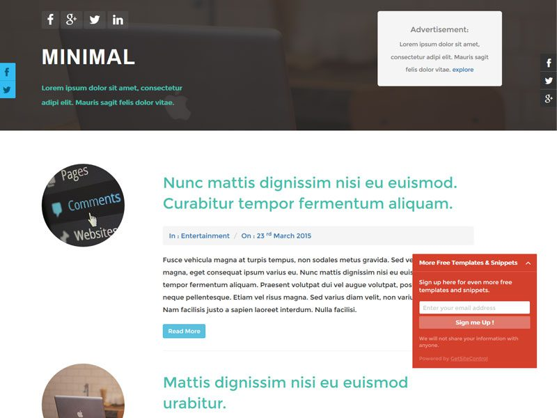 Minimal Free Bootstrap Blog Template