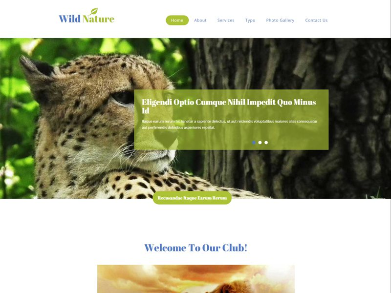 Wild Nature Is A Modern And Clean Free Responsive Bootstrap Template For Pets Pet Trainers Animals Animal Healthcare Zoo Websites