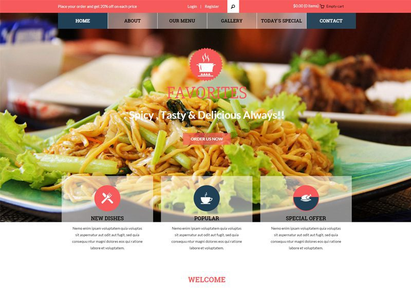 Top 7 best food free bootstrap templates in 2016 freemium download favorites is a clean and modern restaurant bootstrap template for any type of websites fast food centers restaurants this template is suitable with all maxwellsz