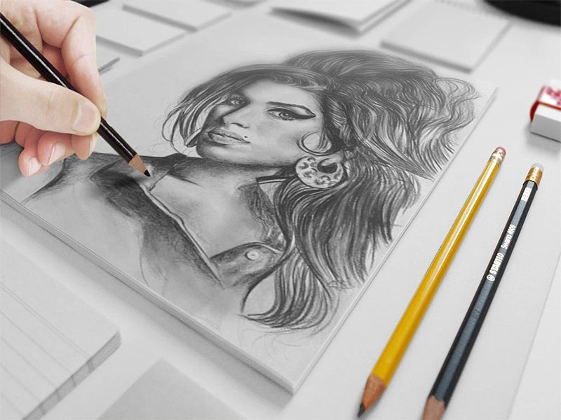 Artist Sketch Free Mock-up Download