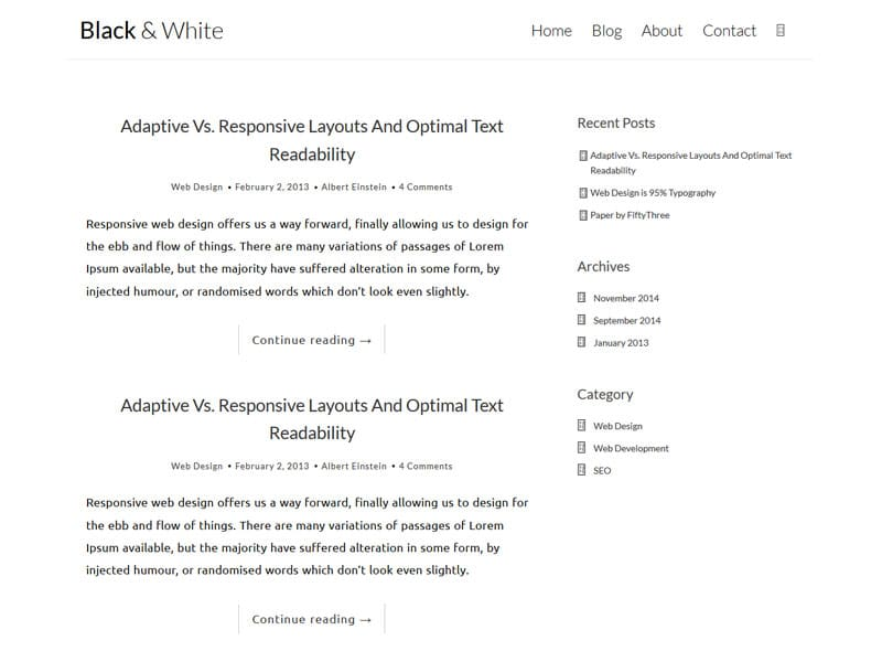 Black N White Free Bootstrap Template For Blog