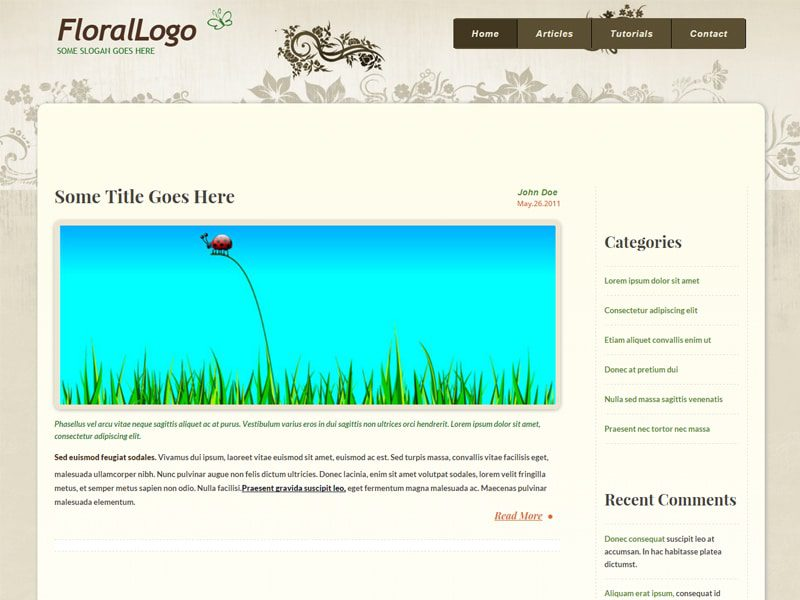 Floral Free Bootstrap Template For Bloggers