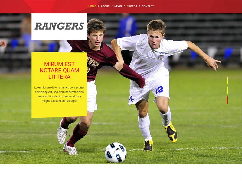 Rangers Free Responsive Bootstrap Template For Sports
