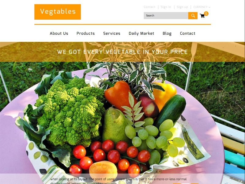 Vegtables Free Bootstrap Template For Agriculture Business
