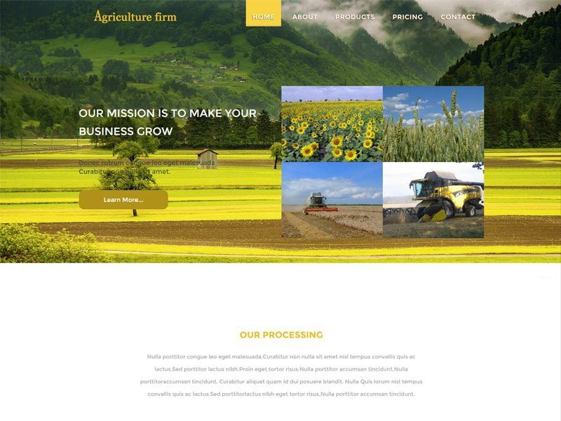 Agriculture Firm Free Bootstrap Template For Agriculture