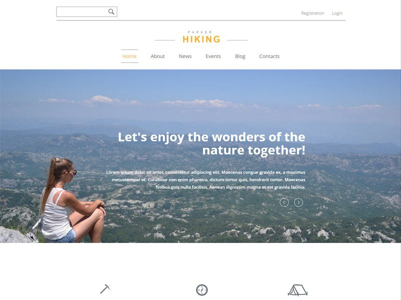 Hiking Free Bootstrap Template For Sports