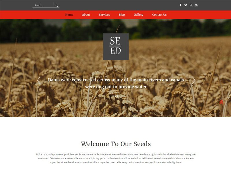 Seed Free Responsive Agriculture Bootstrap Template
