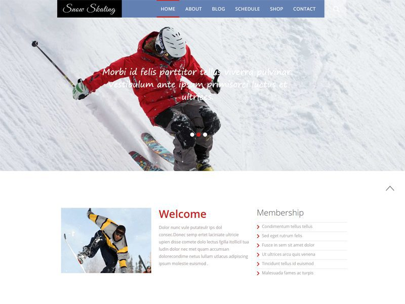 Snow Skating Free Bootstrap Template For Snow