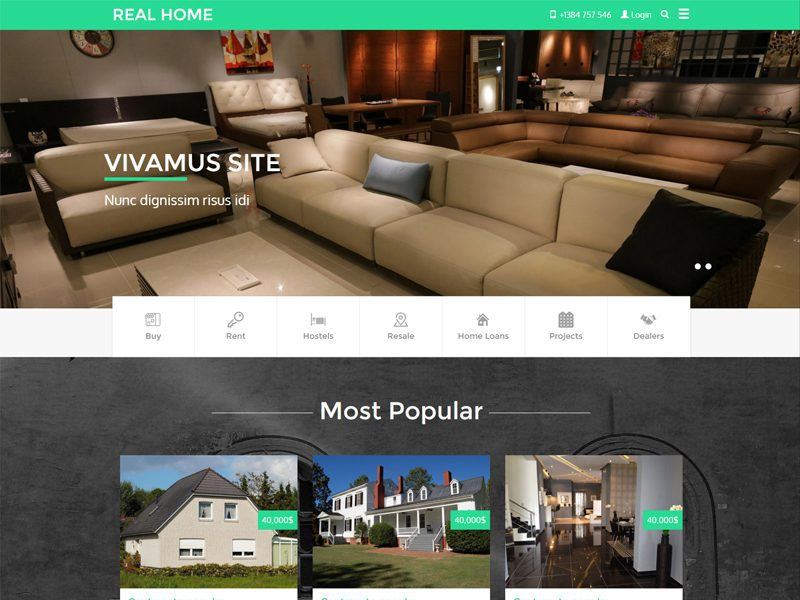 Real Home Free Responsive Bootstrap Real Estate Template