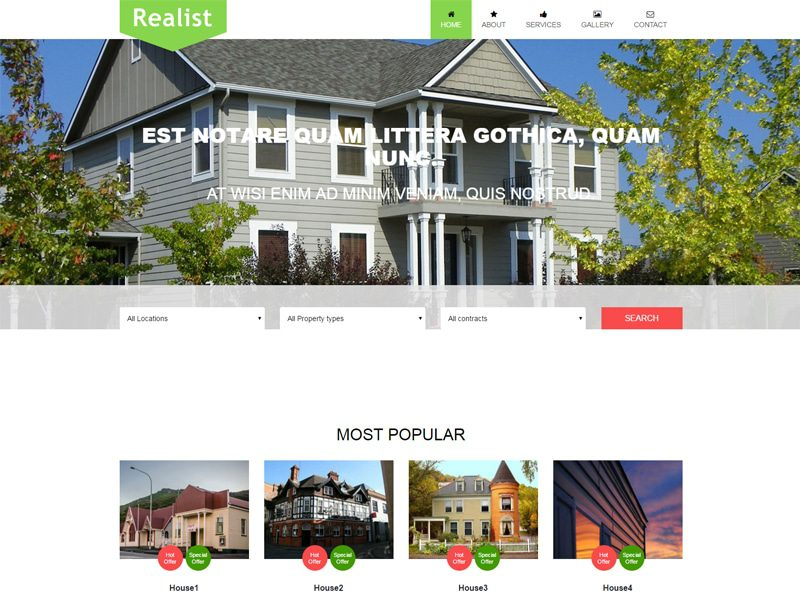 Realist Free Bootstrap Template For Real Estate Business