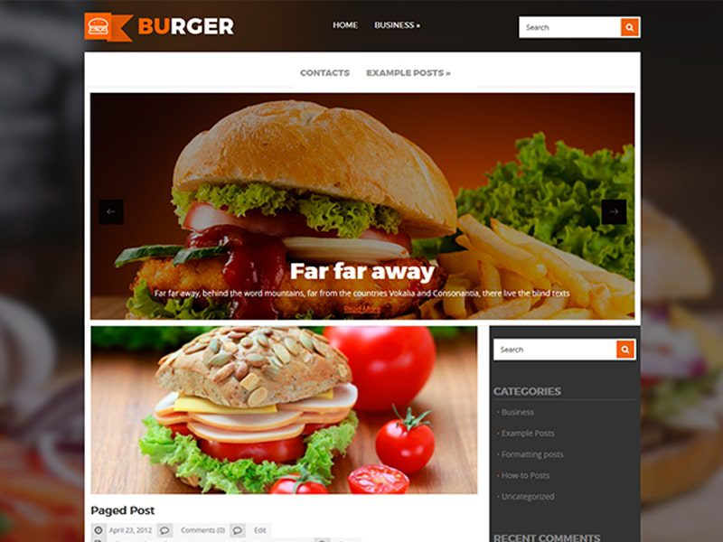 Burger Free WordPress Theme For Food