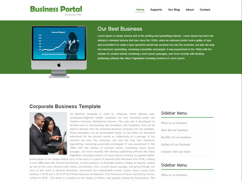 Business Portal Free Bootstrap Template For Business