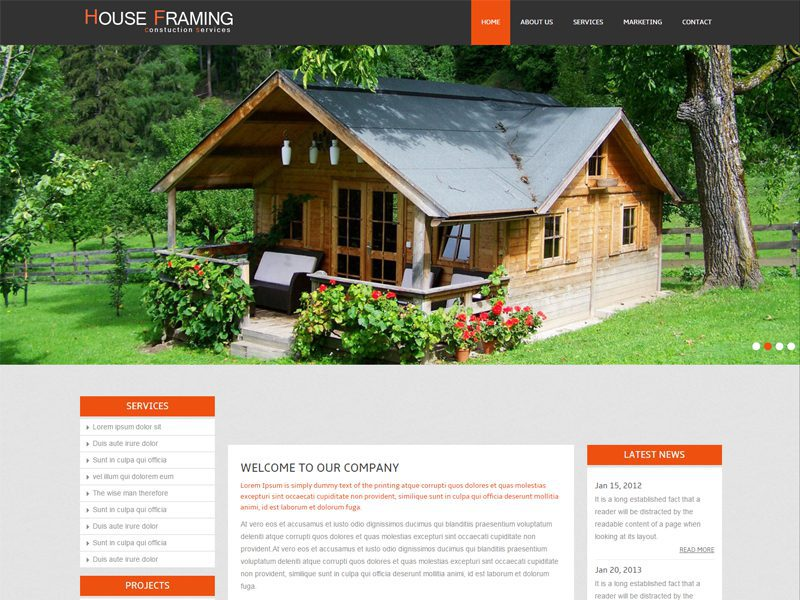 House Framing Free Responsive Real Estate Bootstrap Template