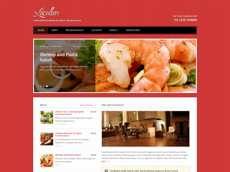 Lucullan WordPress Theme For Restaurant & Bar
