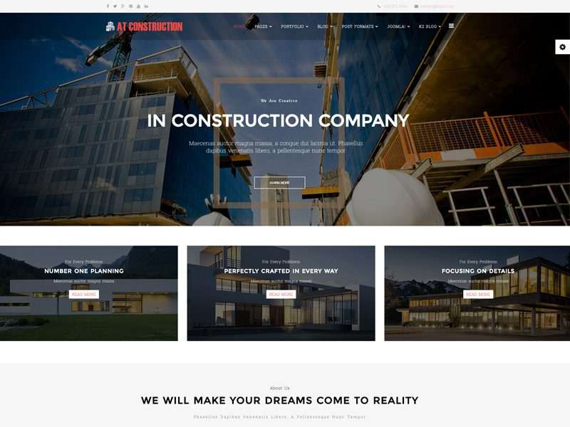 at construction free joomla template for house design