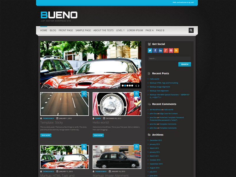 Bueno – Car Blog Free WordPress Theme