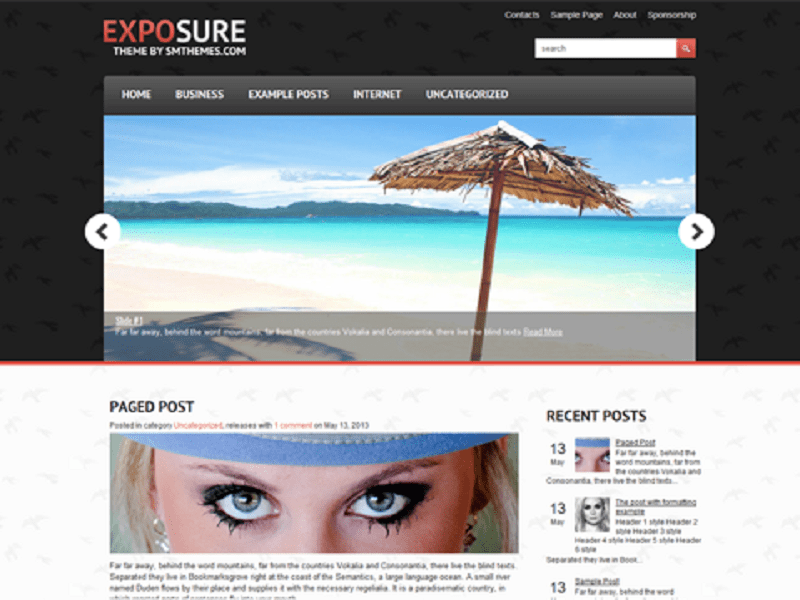Exposure-Free WordPress Theme Photography