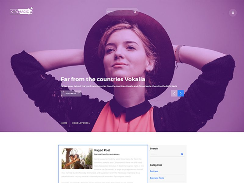 GirlMagic Free Responsive WordPress Blog Theme