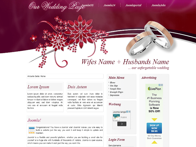 Wedding – Joomla 1.7 Template For Wedding