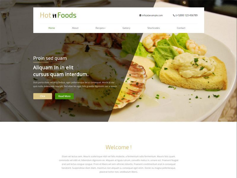 Hot Foods Free Responsive Hotel Bootstrap Template