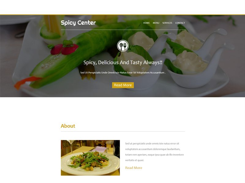 Spicy Center Free Responsive Food Bootstrap Template
