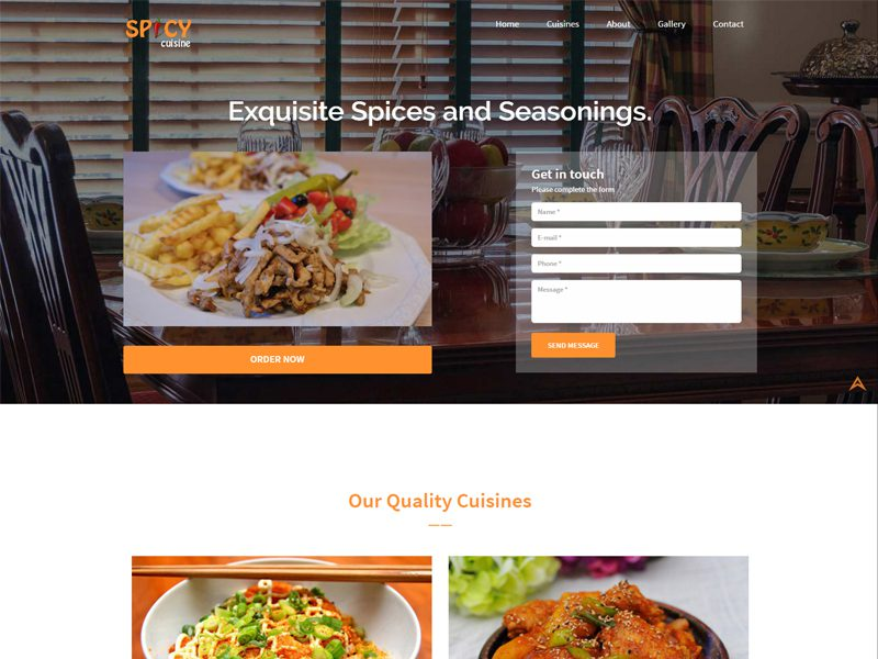 10 best free responsive food website bootstrap template in spicy cuisine free responsive bootstrap restaurant template maxwellsz