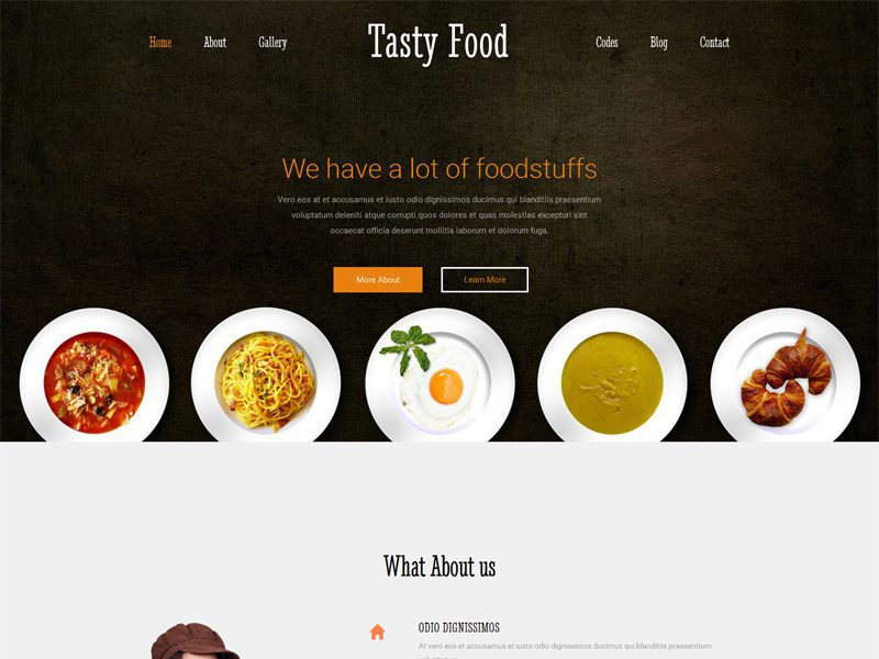 Tasty Food Free Responsive Restaurant Bootstrap Template