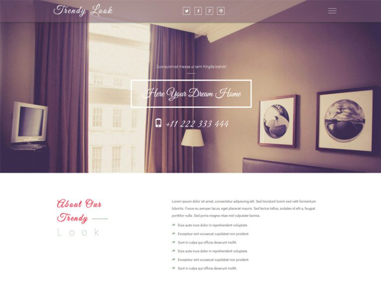 Trendy Look is a great and exciting Bootstrap real estate template for your Interior-design, furniture, home-decor category business websites. This Multi-page template is carved using HTML5, CSS3, and Bootstrap framework. Get it for FREE and explore it's excellent features right now!