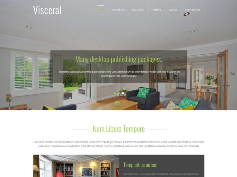 Visceral is a clean and modern Bootstrap furniture template for interior, furniture and business websites. It actually surprises the reader or the user, since it is visually appealing and interesting design solutions are added on to it. It is entirely built in bootstrap framework, HTML5, CSS3 and Jquery. You'll definitely find something alluring and unusual by downloading and using this template. Have a great week with this modern & awesome template!