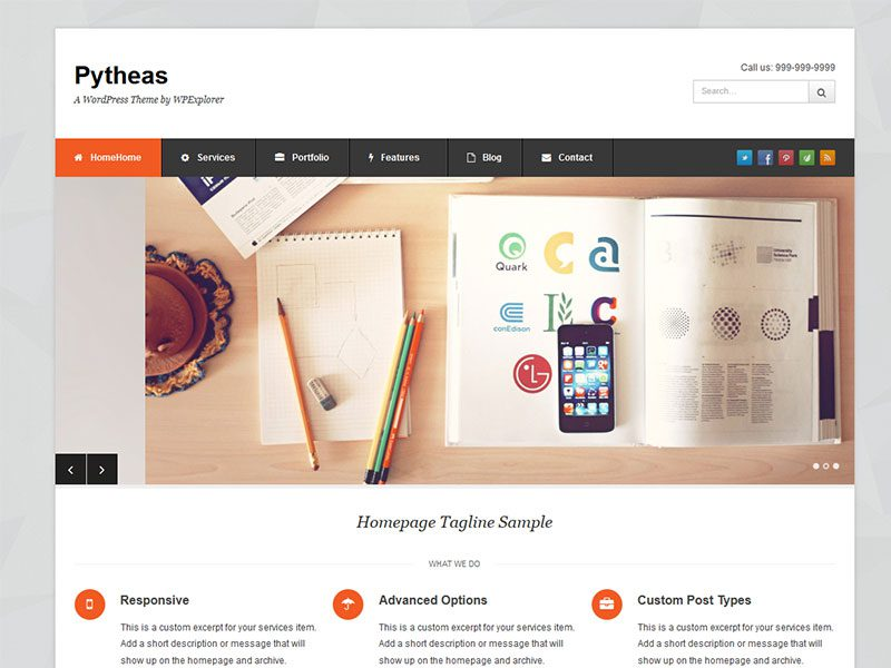 PYTHEAS FREE WORDPRESS THEME FOR CORPORATE, PORTFOLIO