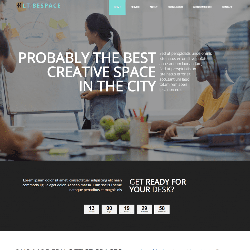 LT BESPACE FREE ONE PAGE WORKSPACE WORDPRESS THEME