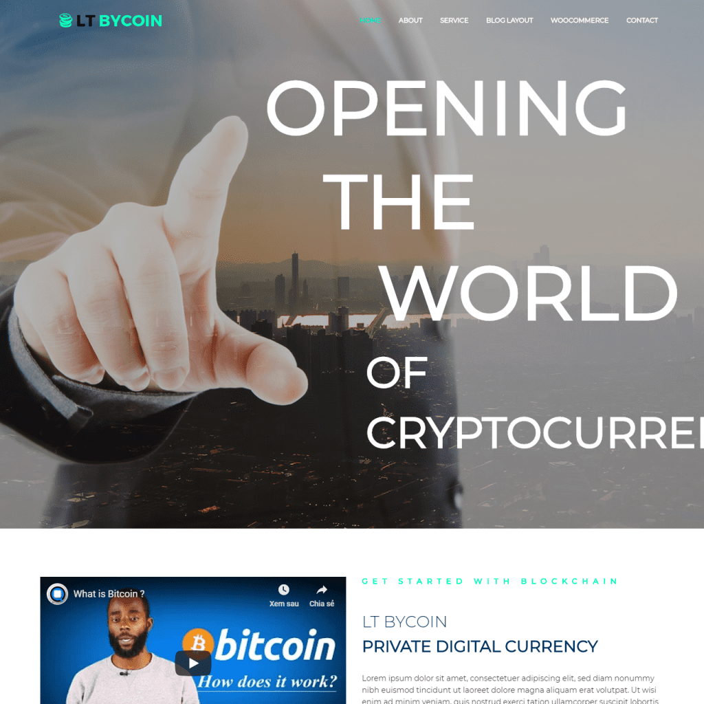 LT BYCOIN FREE ONE PAGE BITCOIN WORDPRESS THEME