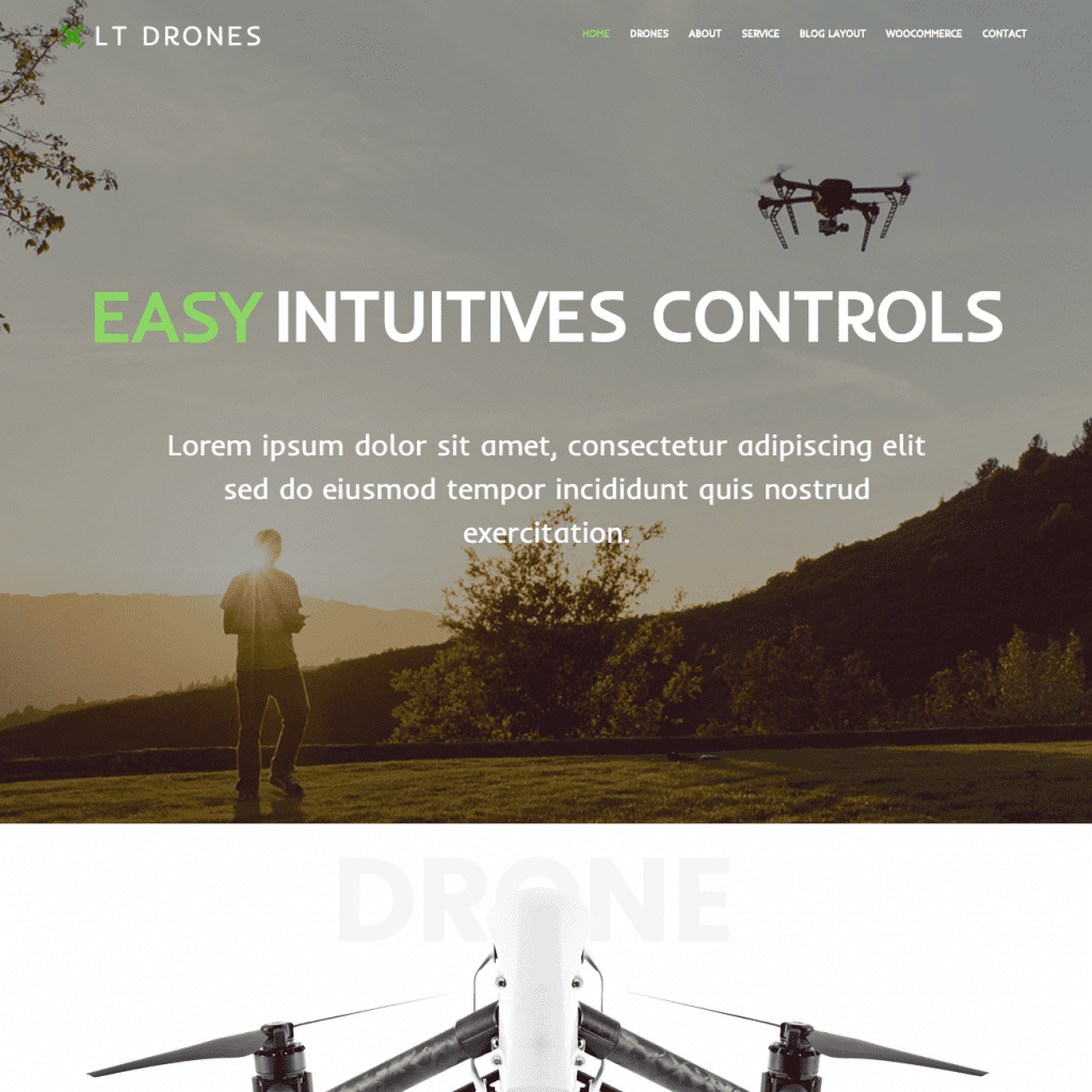 LT DRONES FREE ONE PAGE DRONE WORDPRESS THEME