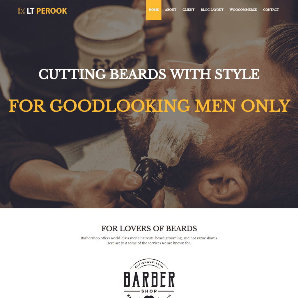 LT PEROOK FREE ONE PAGE BARBER SHOP WORDPRESS THEME
