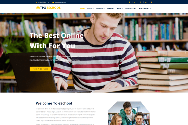 TPG ESCHOOL FREE ONLINE SCHOOL WORDPRESS THEME