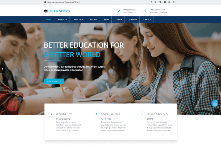 TPG UNIVERSITY FREE EDUCATION WORDPRESS THEME