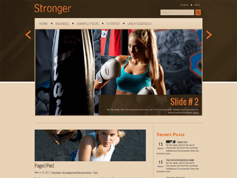 STRONGER FREE THEME WORDPRESS FOR SPORT