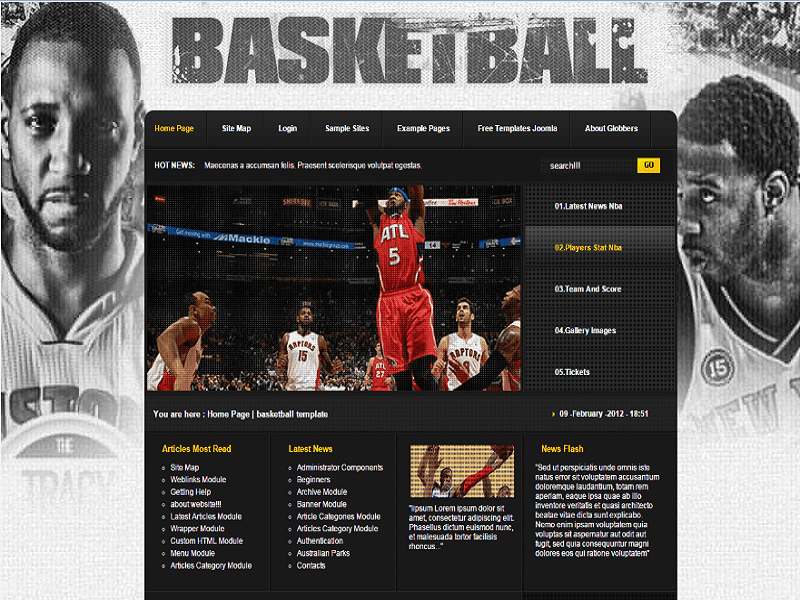 BASKETBALL – JOOMLA 2.5 TEMPLATE BASKETBALL