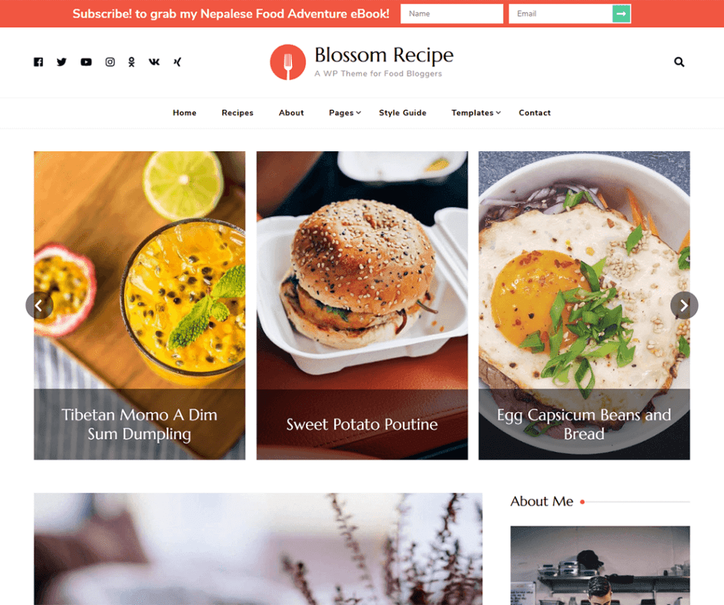 BLOSSOM RECIPE FREE WORDPRESS FOOD AND DRINK THEME