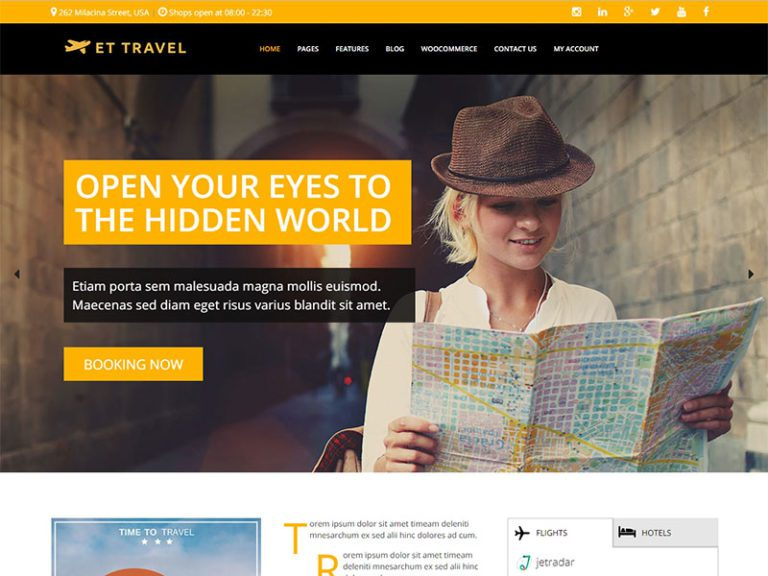 ET TRAVEL FREE RESPONSIVE WORDPRESS TRAVEL THEME