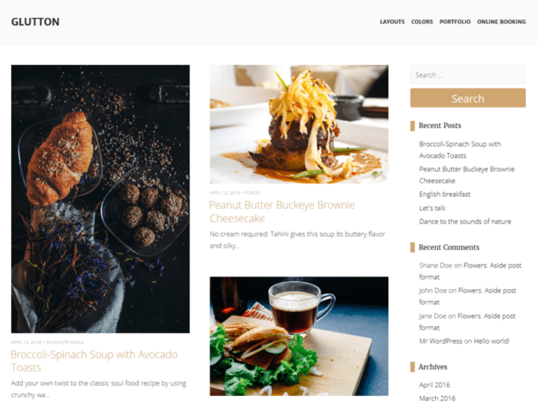 GLUTTON WORDPRESS RESTAURANT THEME