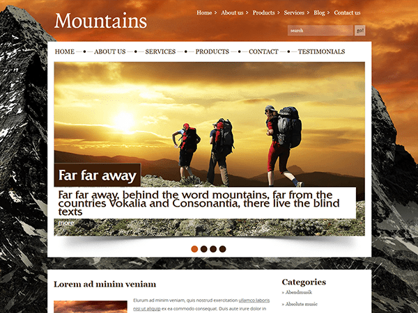 MOUNTAINS – FREE WORDPRESS THEME TRAVELLING
