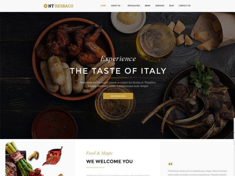NT RESBACO FREE WORDPRESS THEME FOR RESTAURANT