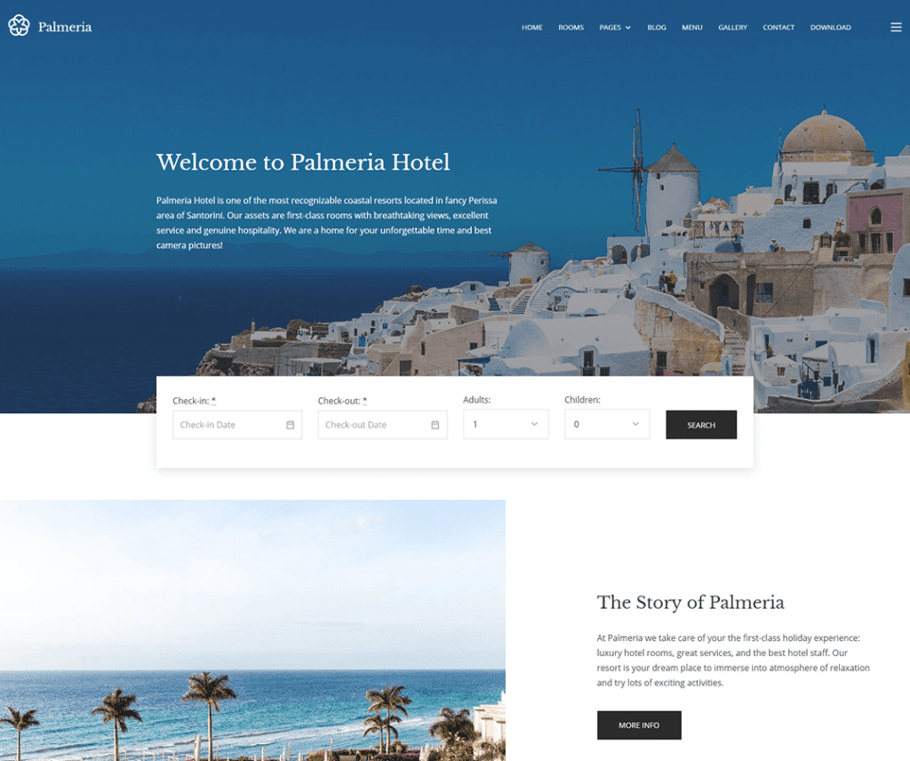 PALMERIA FREE HOLIDAY WORDPRESS THEME