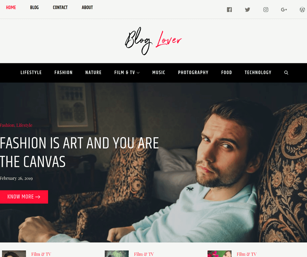 BLOG LOVER FREE PORTFOLIO WORDPRESS THEME