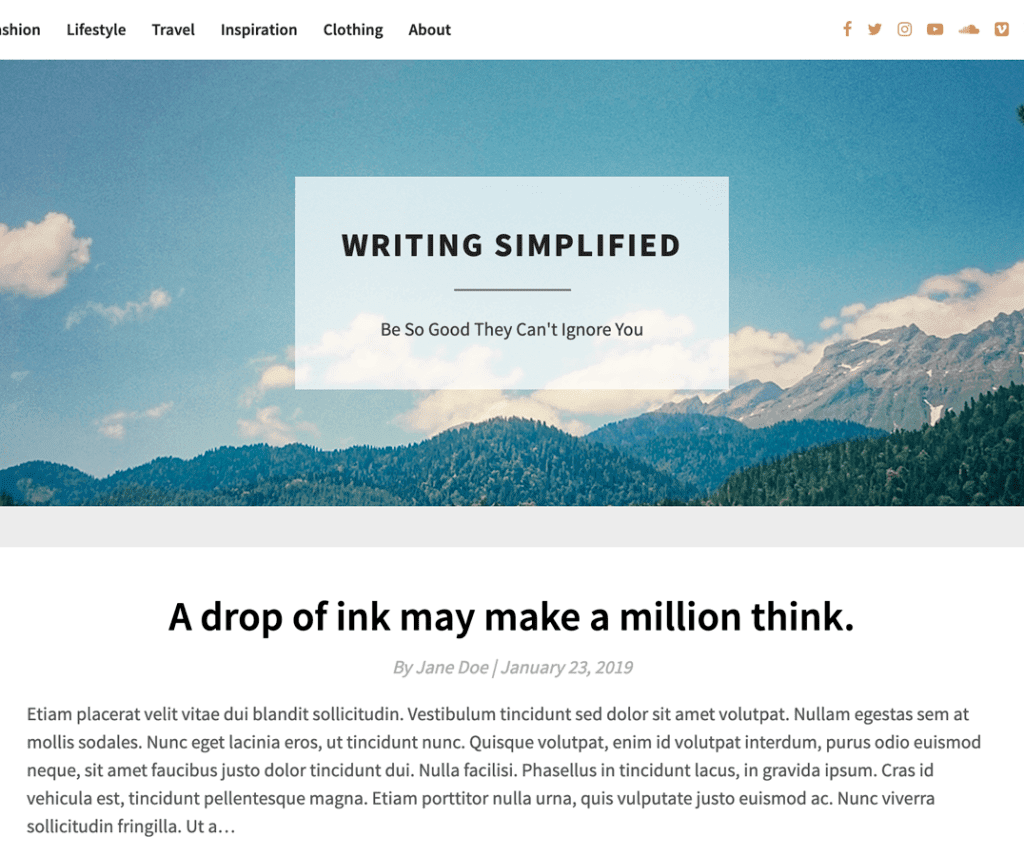 BRIGHT WRITING FREE WORDPRESS ENTERTAINMENT THEME
