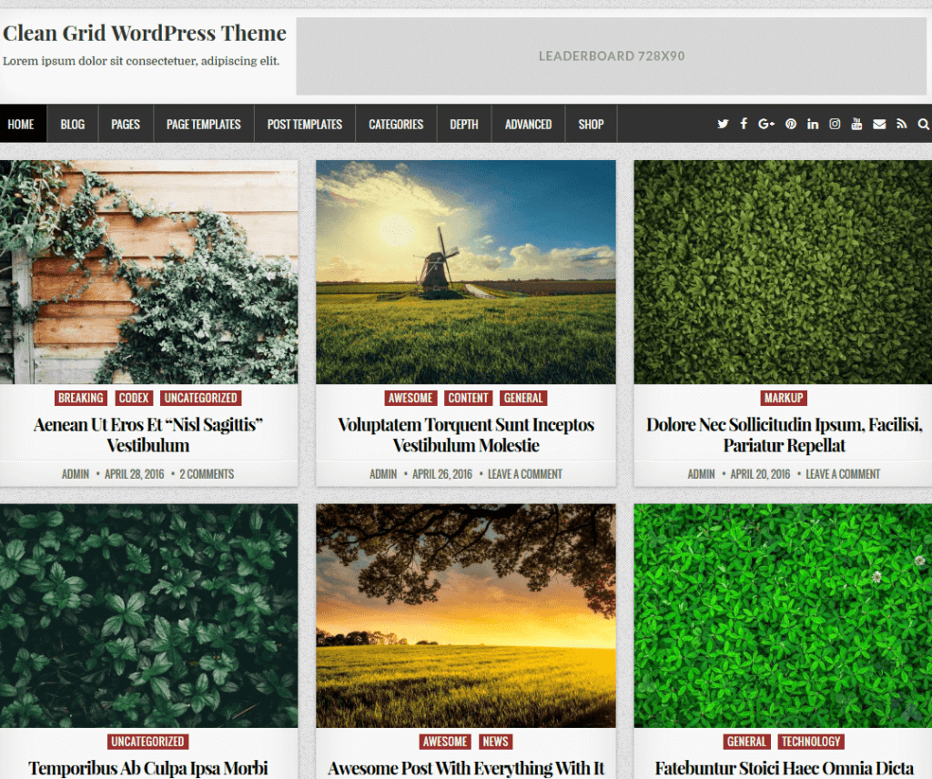 CLEAN GRID FREE PHOTOGRAPHY WORDPRESS THEME