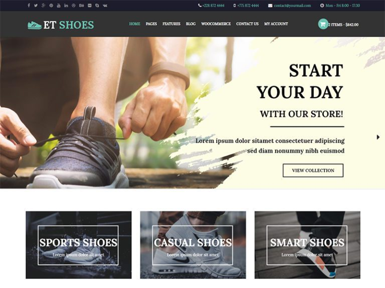 ET SHOES FREE RESPONSIVE SHOES WORDPRESS THEME