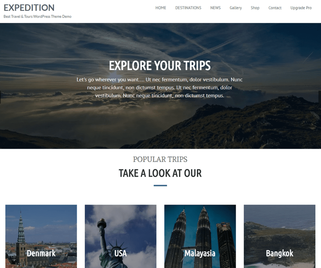 EXPEDITION FREE HOLIDAY WORDPRESS THEME